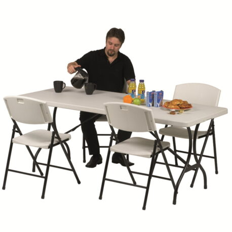 plastic table with folding legs