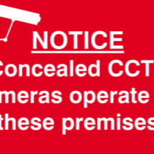 Concealed CCTV Cameras On Premises Sign