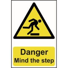 image of danger mind the step sign