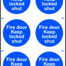 Fire Door Keep Locked Shut Sign - 6 Per Sheet