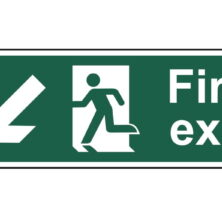 Fire Exit Down-Left Arrow Sign