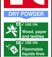 Fire Extinguisher Dry Powder Sign - 82 x 202mm