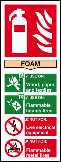 Fire Extinguisher Foam Sign - 82 x 202mm