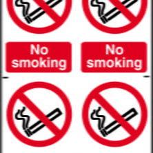 No Smoking Sign - 4 Per Sheet