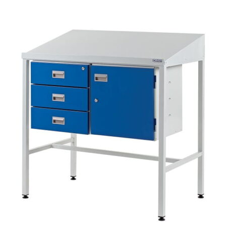 Team Leader Workstation with Triple Drawer Unit & Lockable Cupboard