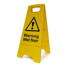 image of warning wet floor a-board